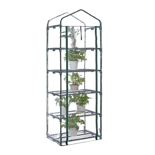 IKayaa Outdoor Garten 5 Tier Mini Grün Haus Growbag W / Regale Metall Rahmen & PVC Abdeckung 69 * 49 * 193cm (L * W * H)