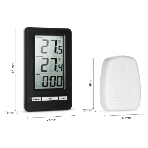 LCD Digital Wireless Thermometer Indoor and Outdoor Temperature Measurement °C/°F Max/Min Value Display 12H/24H Clock