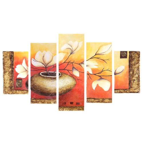 """5 Panel 36 """"* 60"""" Flower & Pot Peinture à l'huile peinte à la main Toile sans cadre Toile murale Peintures murales décoration Belle décoration de la salle 90 * 150cm Peinture Décoration de la maison Cadeau de la maison"""