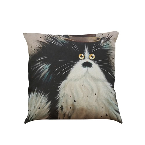 Cute Simple Fashionable White-and-Black Cat Cartoon Images Linen for Home Office Sofa Car Seat Decorative Square Grayish Linen Cushion Throw Pillow Covers Pillowcases