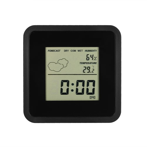 LCD Digital Indoor Thermo-hygrometer °C/°F Temperature Humidity Measurement Alarm Clock Snooze Function Date Day Display