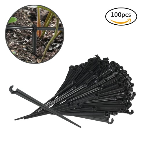 100pcs Fixed Stem Drip Irrigation Value Pack of Support Stakes for Flower Beds Herbs Garden