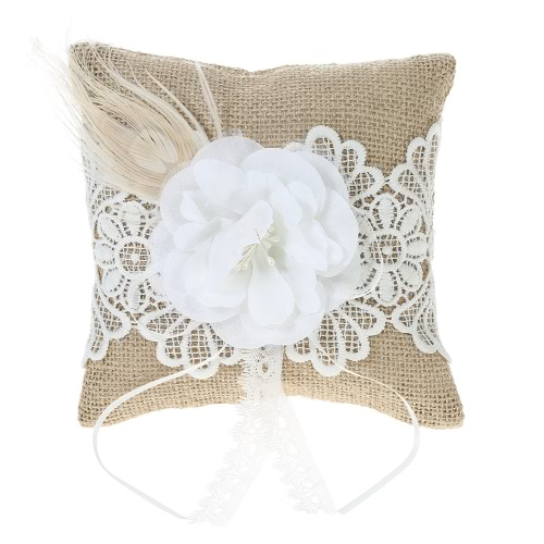 6 * 6 inches Vintage Rustic Burlap Wedding Ring Bearer Pillow with Flower Lace Feather Decoration Wedding Supplies