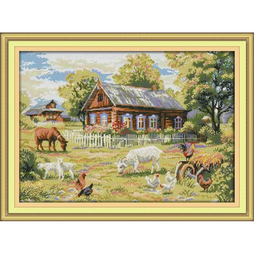 Decdeal DIY hecha a mano costura cruzada Set 74 * 55cm bordado Kit 11CT Precisa impresa Cross-Stitching Decoración para el hogar