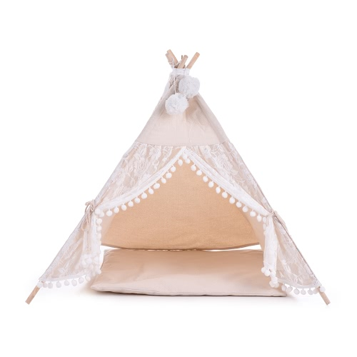 Lace Style Canvas Pet House Teepee Tent Cave Bed for Dogs Cats Guinea Pigs with Fixator Blackboard