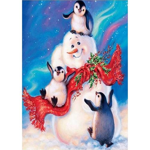 Malowanie ścian dekoracyjnych Snowman i Penguin w śniegu Handmade Diamond Painting na prezent świąteczny