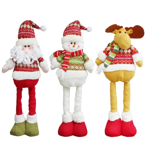 Christmas Extendable Standing Doll Toy Santa/Snowman/Reindeer X'mas Party Decorations Ornaments Christmas Gift