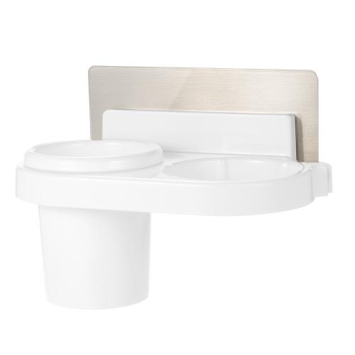 Esonmus Plastic Multifunctional Bathroom Self Adhesive Wall Hair Dryer Holder Organizer Toothbrush Storage Rack with Sticker--White