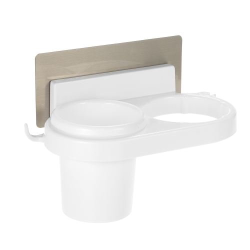 Esonmus Plastic Multifunctional Bathroom Samoprzylepna ściana Suszarka do włosów Organizer Holder Szczoteczka do zębów Stół magazynowy z naklejką - biały