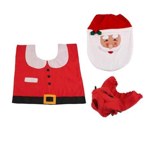 3pcs Weihnachtsmann-Bad-Matten-Toiletten-Kappen-Sitz-Abdeckungs-Beleg-Bad-Teppich-Fuß-Auflage-Wasser-Behälter-Abdeckungs-Badezimmer-Satz-Weihnachtsdekor