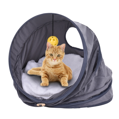 Multi-functional Foldable Pet Cat Tent Bed House Castle Nest Roll Tunnel Toy with Soft Pads Hanging Bell Ball