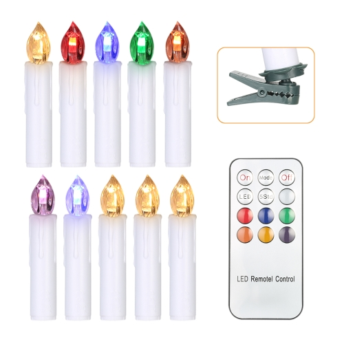 10pcs/set Realistic 7 Colors Changing Remote LED Candles Christmas Tree Cordless Candle Lights with Clips & Remote Control for Wedding Party