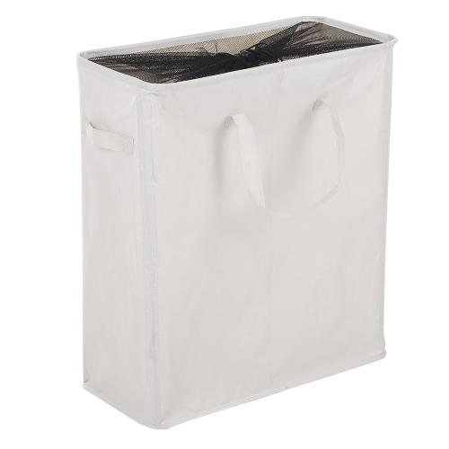 2-Abschnitt Wasserdichte Oxford Tuch Wäschekorb Bin Mesh Kordelzug Faltbare Schmutzige Kleidung Lagerung Hamper Organizer mit Griffen 4 Stützstangen