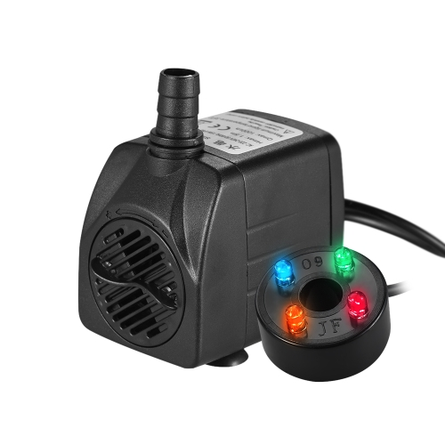 1000L/H 15W Submersible Water Pump with 4 LED Light Ultra Quiet for Pond Aquarium Fish Tank Tabletop Fountain Hydroponics 4.9ft (1.5m) Power Cord