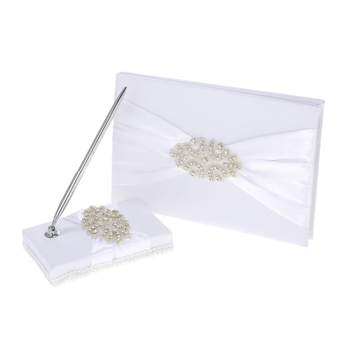 White Satin Ribbon Wedding Guest Signature Book and Pen Stand Set with Rhinestone Decoration