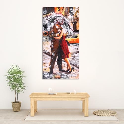 24 * 47 Zoll Unframed wasserdicht handgemalte Ölgemälde abstrakt küssen im Regen Leinwand Bild Wall Art Decor für Wohnzimmer Büro