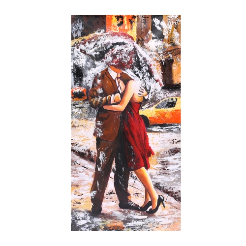 24 * 47 inches Unframed Waterproof Hand-Painted Oil Painting Abstract Kissing in the Rain Canvas Picture Wall Art Decor for Living Room Office