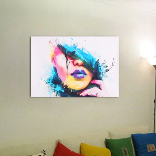 60 * 45cm HD Printed Unframed Colorful Girl Face Pattern Canvas Painting Wall Art Pictures Decor for Home Living Room Bedroom Office
