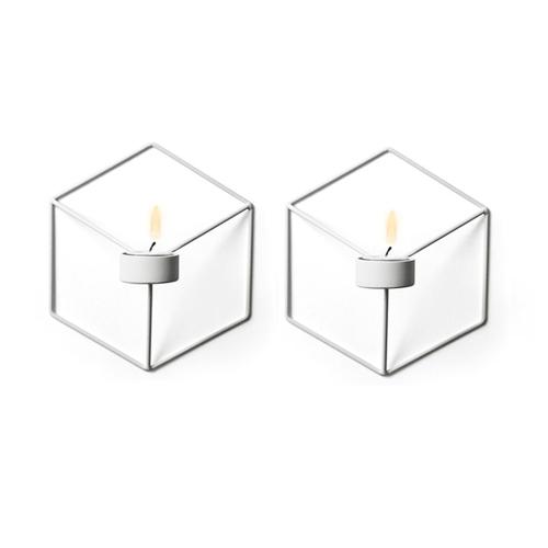 2PCS Скандинавский стиль 3D геометрический подсвечник металлический стенд держатель брата домашний декор
