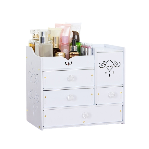 DIY White Desktop Makeup Organizer Jewelry Storage Box Cosmetic Holder with Drawers Acrylic Mirror