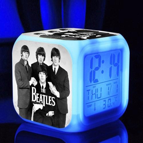 7 цветов Многофункциональный температурный цветной светодиодный цифровой Cute Будильник Cube Glowing in the Dark Kids Rock Band Toy