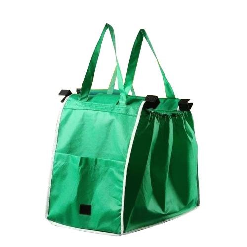 Wielokrotnego użytku Duży wózek Clip-To-Cart Zakupy spożywcze Przenośne torby Green Fabric