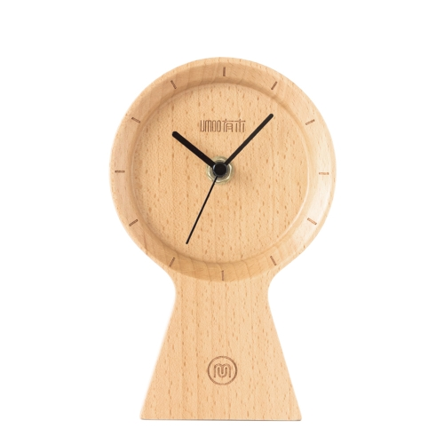 Meki Handmade Beech Wood Eco-friendly Material Sunny Clock Silent Non Ticking Wooden Clock for Office Home Sypialnia Salon