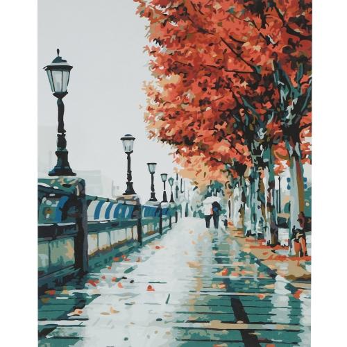 Безрамная цифровая масляная живопись DIY 16 * 20 '' Осенний пейзаж с ручным рисунком из хлопчатобумажной ткани по номеру набора Home Office Wall Art Paintings Decor