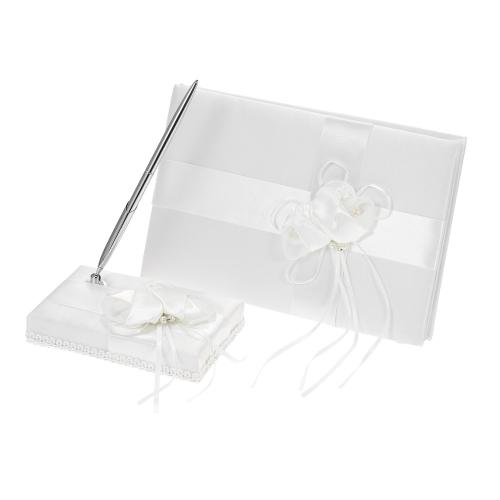 White Satin Ribbon Hochzeit Guset Unterschrift Buch und Stift Stand mit Satin Blume Faux Perlen Dekoration
