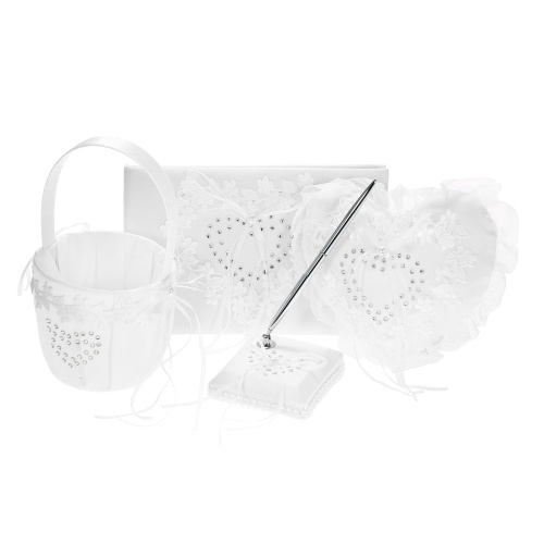 4pcs / set Белая одежда для свадьбы Атласная корзина для девочек с цветами + Сердце Кольцо с подушкой + Гостевая книга + Держатель для пера