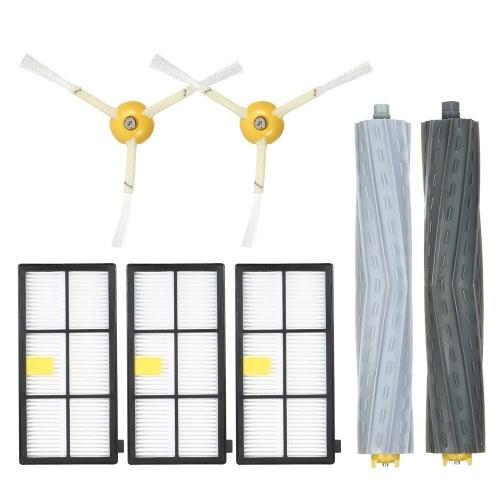 Комплект из 7 комплектов запасных частей для iRobot Roomba 800 и 900 Series 805 860 861 864 866 870 880 890 891 894 960 961 964 966 980 Пылесос - Щеточка для удаления мусора и боковая кисть + фильтр HEPA