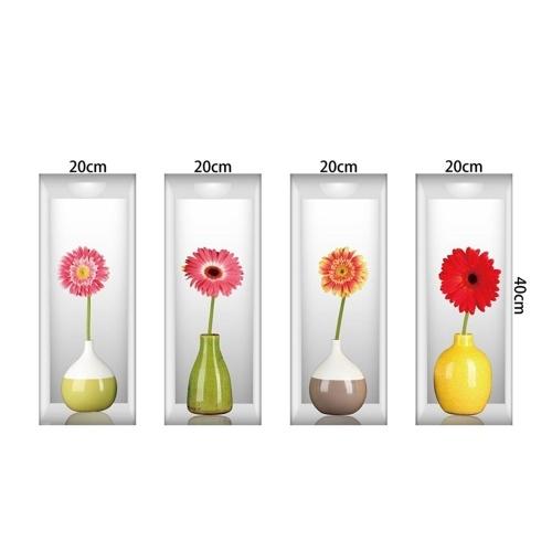 Набор из 4 Art Magic 3D Цветные вазы Фрезы Съемный стикер стены DIY Наклейки для гостиной Спальня Диван Домашний декор