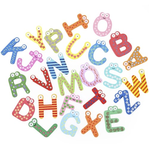 26PCS Смешные английские буквы Наклейка с холодильником на холодильник Деревянный мультфильм Алфавит AZ Магнитный холодильник Наклейки Раннее образование