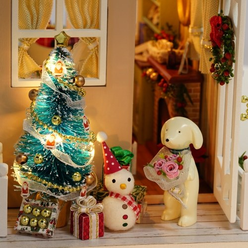 DIY Christmas Miniature Dollhouse Kit Realistic Mini 3D Wooden House Room Craft