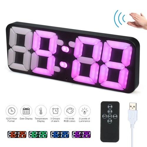3D Wireless Remote Digital RGB LED Thermometer Alarm Clock