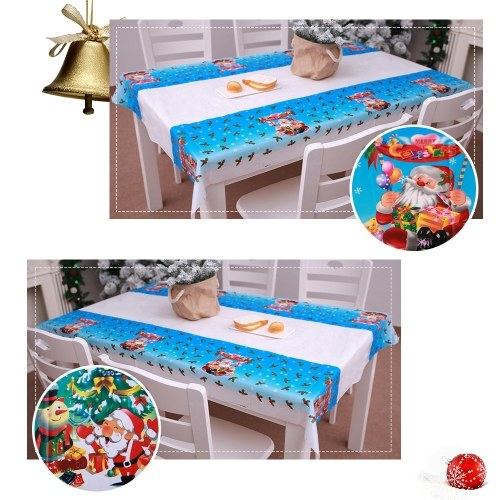 Image of 1.1 * 1.8m Christmas Style Printed Pattern Rectangular Tablecloth Disposable Table Cloth