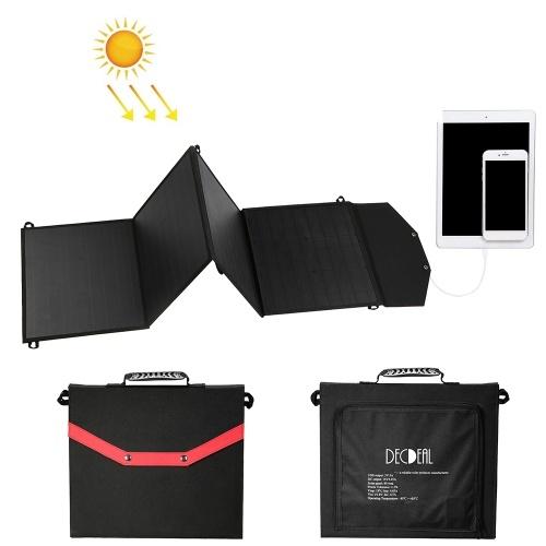 Decdeal Cargador de panel solar plegable portátil plegable de 80W con 2 puertos USB