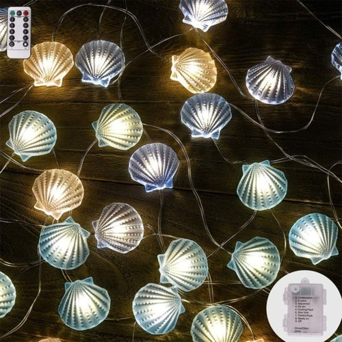 Decorative String Light S-h-e-l-l Shape Christmas Light String 4M 40 Lights with Remote Timer Control
