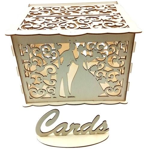 Wooden Wedding Envelope Gift Card Box Hollow Floral Pattern Invitation Card DIY Box Wedding Supplies
