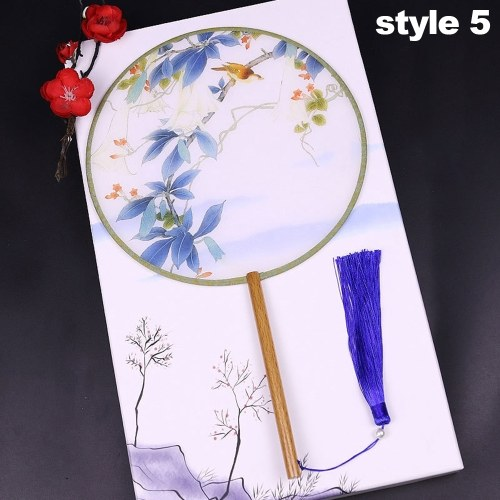 Patrón redondo de doble cara Ventilador de mano antiguo chino Ventilador de mano Ventilador de bambú con borla Decoración del hogar