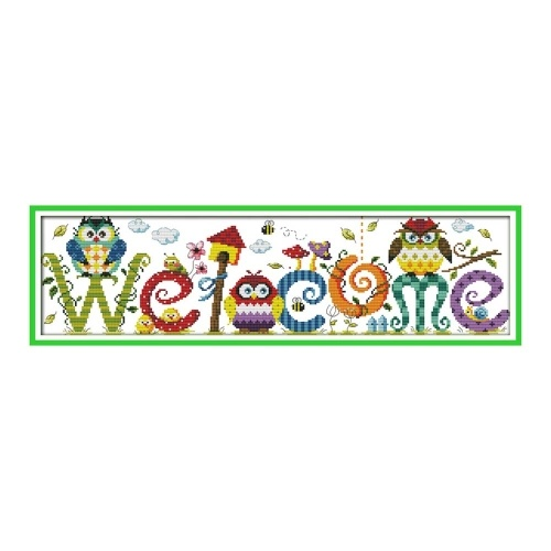 Decdeal 22.8 * 6.7 inches The Owl Welcome Card Pattern Cross Stitch Kit with Pre-printed 14CT Canvas Cloth & Cotton Thread Embroidery Cross-Stitching Needlework Home Wall Decor