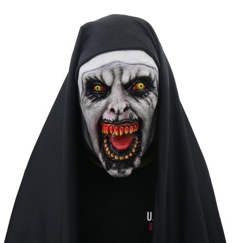 Devil Cosplay Nun Valak Mask con cappuccio Full Head Evocazione Maschera spaventosa Costume Halloween Party Puntelli