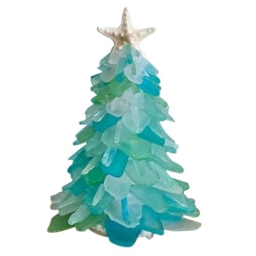 Mini decoraciones de mesa de árbol de Navidad azul DIY