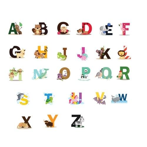 Alphabet geformte Wandtattoos DIY Brief Thema Jungen Kinderzimmer Wandaufkleber