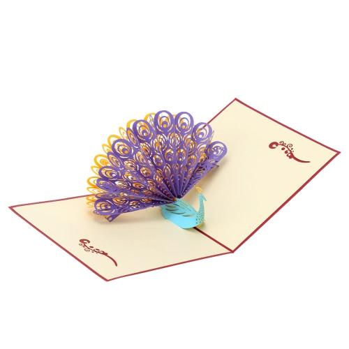Carte d'Anniversaire Faite à Main 3D Pop Up Kirigami Creux Pliable Carte Postale de Voeux d'Anniversaire avec Enveloppe Design de Paon Coloré