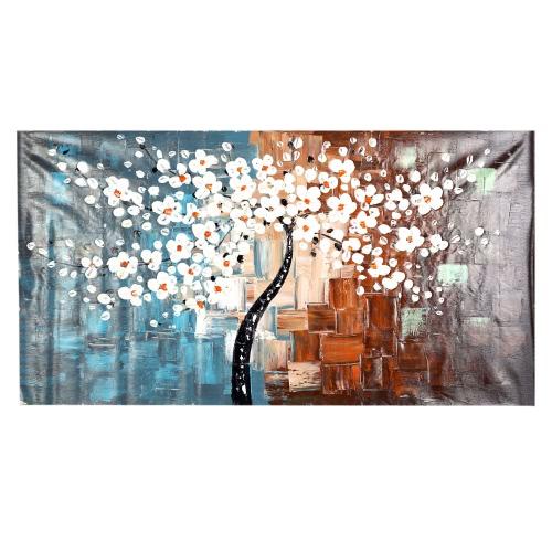60*120cm Peinture à l'Huile Peint à la Main sans Cadre Fleur Arbre Toile Décoration pour Maison Salon Chambre Bureau œuvre d'Art