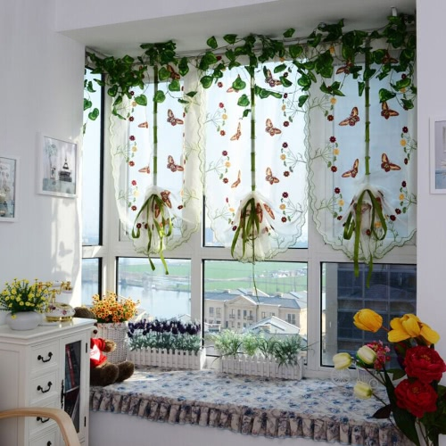 2PCS 0.8M*1M Elegant Embroidery Balcony Window Curtains Roman Window Valance Sheer Voile Tulle Cortinas for Bedroom Living Room Kitchen Decoration Pastoral Butterfly Pattern Home Textile