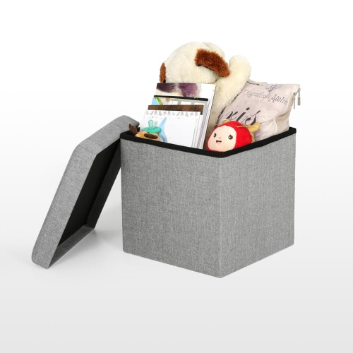 iKayaa Modern Foldable Storage Ottoman Fabric Foot Stool Seat Footrest Folding Storage Box Pouffe 14.76 * 14.76 * 14.96(L*W*H)