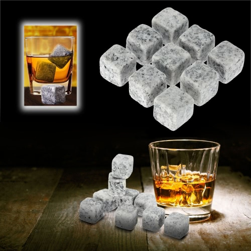 Anself 9pcs 18mm Whisky Ice Stones Drinks Cooler Cubes Beer Rocks Granite with Pouch