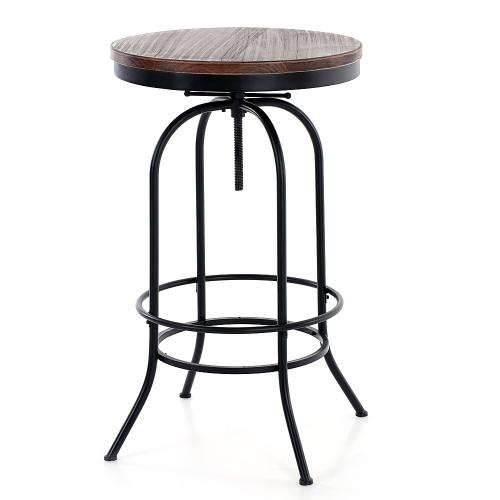 table haute style industriel en bois et acier hauteur rglable - Table Bar Industriel